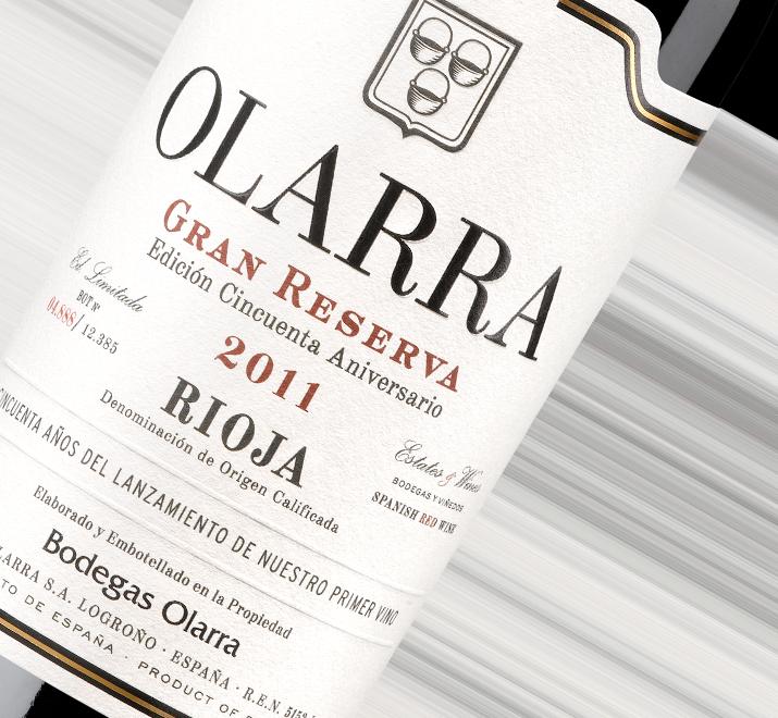 Etiqueta del vino Olarra Gran Reserva, vino de Rioja