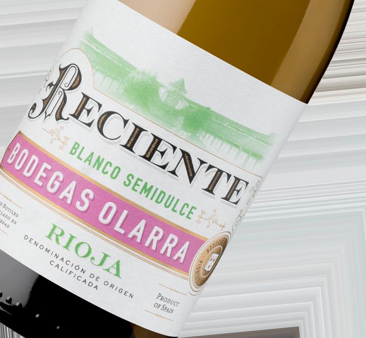 Detalle etiqueta Vino Reciente Blanco Semidulce de Rioja